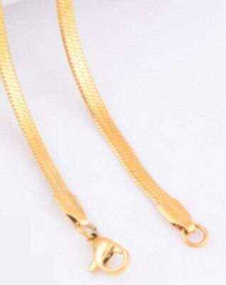 FOCALOOK 3mm Flat Snake Chain Stainless Steel Necklace 18k Real Gold Plated for Women Men Teen Box 4 Colors