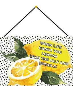 Life Hands Lemons - Tequila Shield with Cord Metal Tin Sign 20 X 30 CM FA1474-K