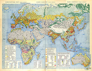 Map Of Africa 1950.Details About Big Size Agriculture Map Card Atlas 1950 Africa Asia Europa Australia Oceania