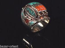 Traditioneller Tibetischer Türkis Ring tibetan turquoise ring neusilber  Nr.10