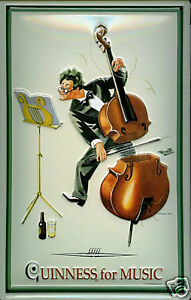 Guinness Musician Double Bass embossed steel sign 300mm x ...