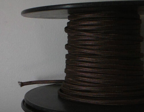 Spool Brown Parallel Rayon Covered Lamp Wire Antique Vintage Style Cord 25 Ft