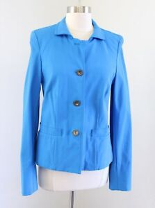 Nina McLemore Womens Solid Blue Button Front Blazer Jacket Size 4 *Read