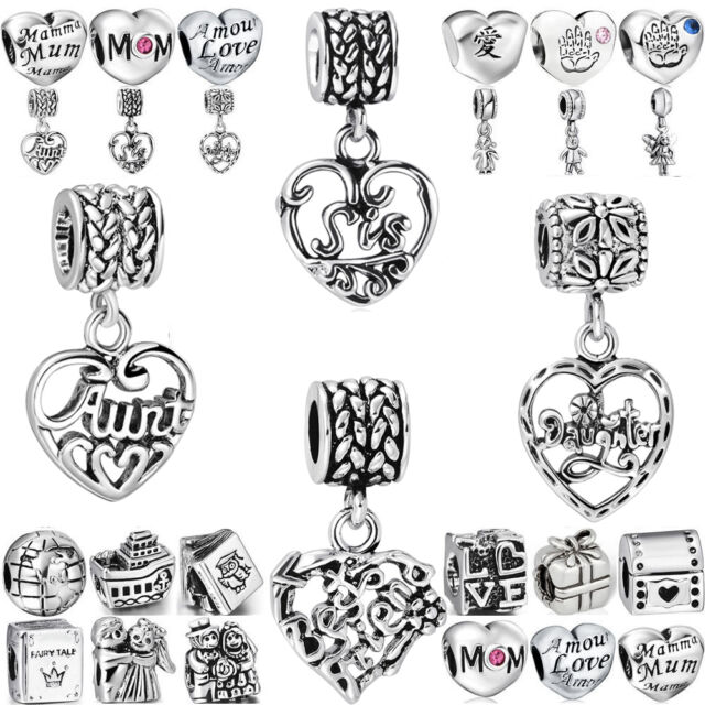 Family love 925 Pendant silver charms bead For european sterling PAN Bracelets
