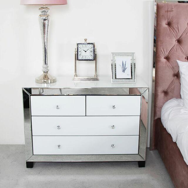 Wimex German Mirror White Chest 6 Drawer Wide Mirrored Bedroom Furniture Bedroom Furniture Home Kitchen