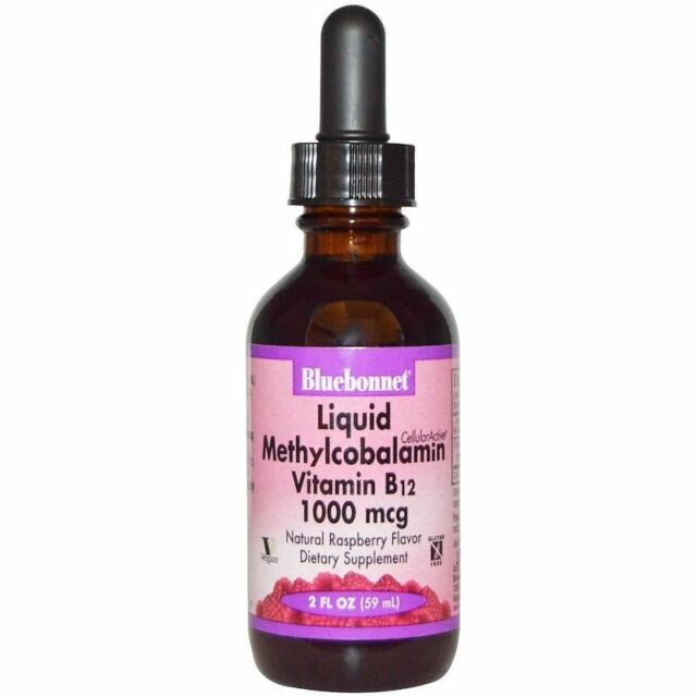 Bluebonnet Nutrition Liquid Methylcobalamin Vitamin B12 Raspberry 1000 mcg