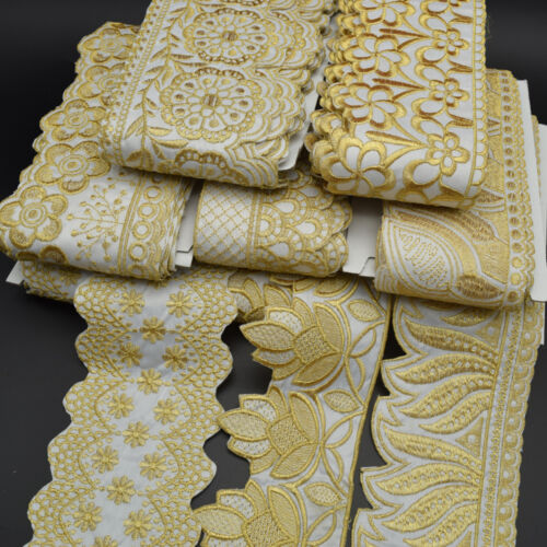 5Yards White Fabirc Trim With Gold Floral Embroidery African lace trim fabric