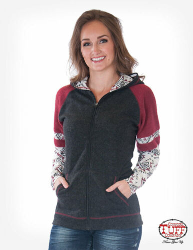 Cowgirl Tuff Women/'s Black /& Red Aztec Print Zip Up Hoodie H00632
