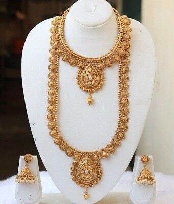 Fashion Temple Jewelry Gold Beautiful Short And Long Necklace Set