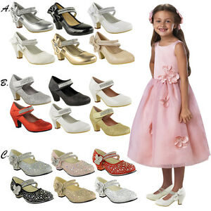 CHILDRENS-GIRLS-KIDS-HIGH-MID-HEEL-DIAMANTE-PARTY-SHOES-BRIDESMAID-SANDALS-SIZE