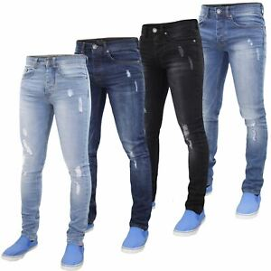 Mens-Skinny-Stretch-Ripped-Jeans-Slim-Fit-Casual-Trousers-Denim-Pants-All-Sizes