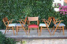 1 von 5 Armlehnstühlen/Leder Dining Chairs 2 graublau 2 türkisgrün 1 rot