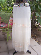 NWT~$125~Long Layered Mesh Embroidered Western Gypsy Festival Skirt~M~Papillon