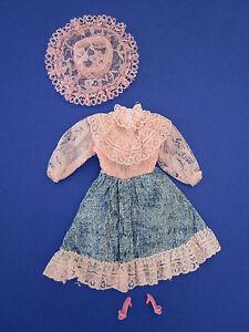 """(182) Vieux Rose Et Bleu Vintage Robe + Chapeau + Chaussures Pour Barbie U.a.29cm Poupées Mannequins-he FÜr Barbie U.a.29cm Modepuppen """" afficher Le Titre D'origine"""