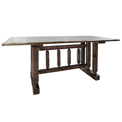 Farmhouse Style Dining Room Table Amish Made Rustic Trestle Tables 6 Ft Stained Ebay