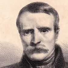 Portrait XIXe Lithographie Alexandre-Gabriel Decamps Peintre Fontainebleau 1840