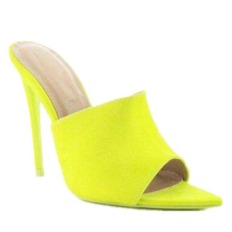 Gelb Damen Pantoletten Peeptoe Stilettos Lycra Pumps Hausschuhe High Heels 46 47