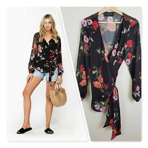 DECJUBA-Womens-Print-Poppy-Bloom-Wrap-Blouse-Top-Size-M-or-AU-12-US-8
