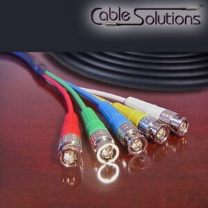 """Canare V5-3C Jacketed RGBHV Video """"Snake"""" Cable BNC/BNC or BNC/RCA 2m"""