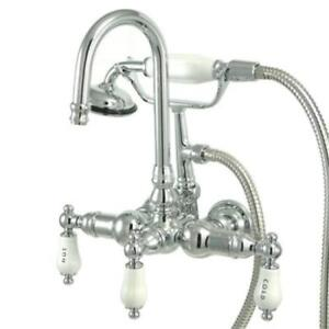 Kingston Brass Wall Mount ClawFoot Tub Faucet With Hand Shower ...