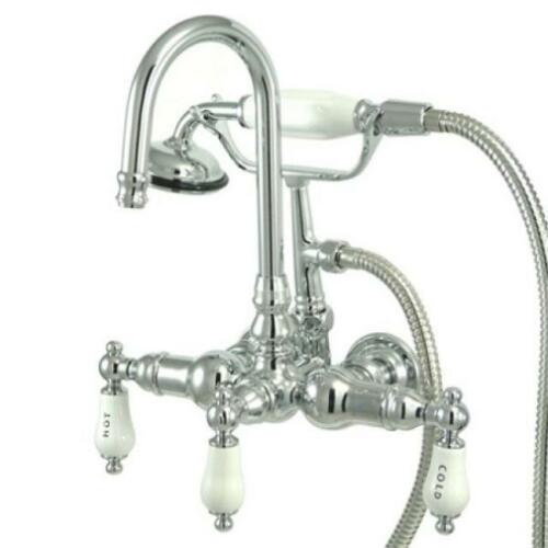 Kingston Brass Wall Mount ClawFoot Tub Faucet With Hand Shower CC10T1 Chrome