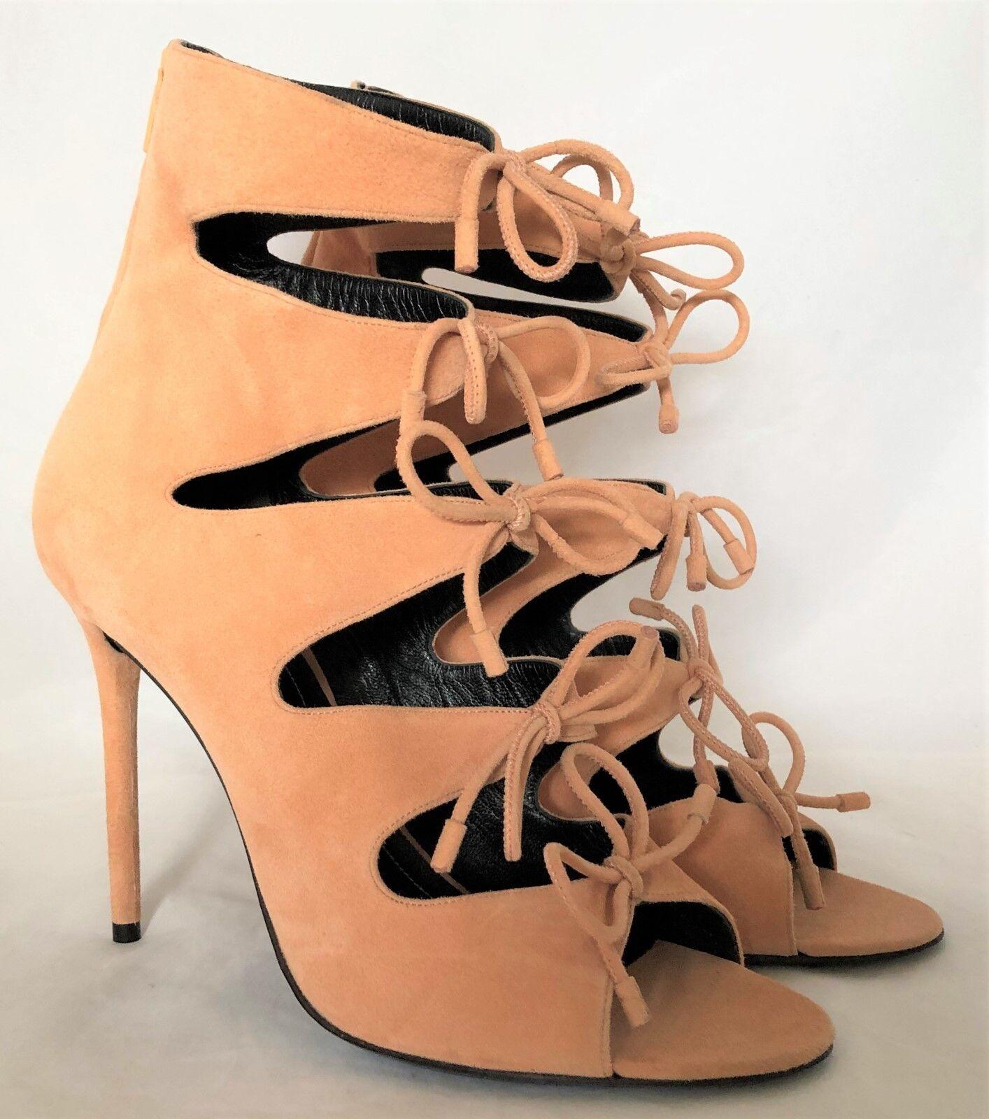 ffba76174 Nuevo Balenciaga Melocotón Gamuza Cremallera Bota puntera abierta sandalia  de bomba de Arco Tacón Alto 39IT 9US nwzmyn6872-zapatos nuevos