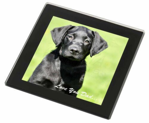 DAD-61GC Black Labrador /'Love You Dad/' Black Rim Glass Coaster Animal Breed Gif