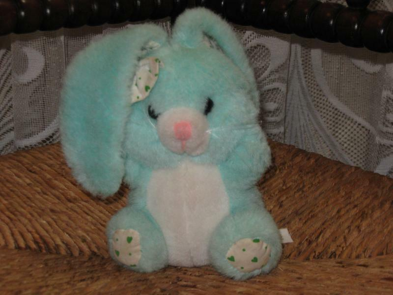 Mint bluee colord Girl Bunny Plush Unitoys Amsterdam Holland Vintage 1980s