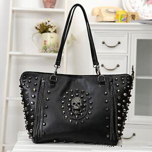 Women-Handbag-Shoulder-Bag-Skull-Punk-Rock-Roll-Spike-Rivet-Studs-PU-Leather