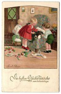 Pauli-Ebner-girls-with-sick-Dachshund-Teckel-dog-artist-signed-postcard-1934