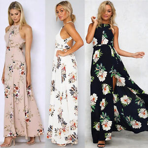robe d t femmes boho longue sans manches floral maxi soir e parti robe plage ebay. Black Bedroom Furniture Sets. Home Design Ideas