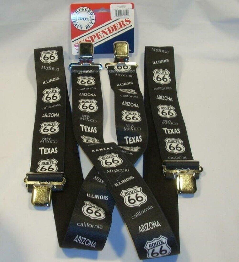 Rugged Heavy Duty ROUTE 66 Adjustable Men's Suspenders