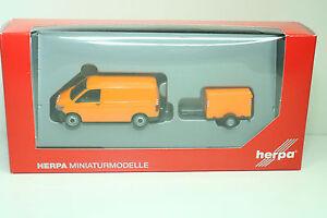 Herpa-093071-VW-T6-Transporter-mit-Planen-Anhaenger-Kommunal-Neu-OVP