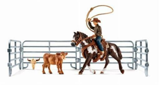 Schleich North America 240004 Team Roping with Cowboy Brown & White