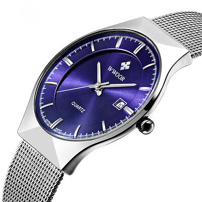 WWOOR New Luxury Brand Men's Watches Stainless Steel Band Date Quartz Wristwatch
