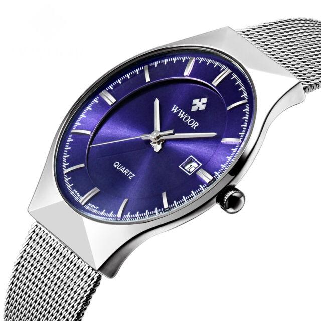 WWOOR New Luxury Brand Men's Watches Stainless Steel Band Date Quartz Wristwatch