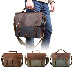 Men-039-s-Leather-Canvas-Messenger-Shoulder-Bag-Satchel-14-034-Laptop-Crossbody-Bags