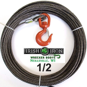 """1/2"""" X 75' Fiber Core,Winch Cable.Wire Rope With Swivel Hook.Wrecker,R<wbr/>ollback."""