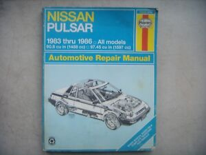 nissan pulsar haynes repair manual service guide 1983 1986 book rh ebay com Parts Manual Downloadable Online Chevrolet Repair Manuals