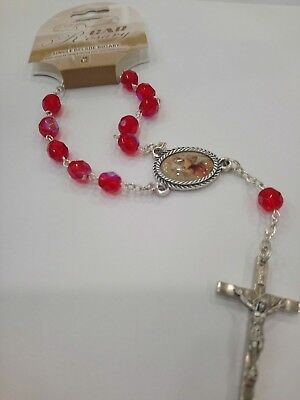 Car Rosary Pink St Christopher Protection Motorists Travelling Special Gifts Her