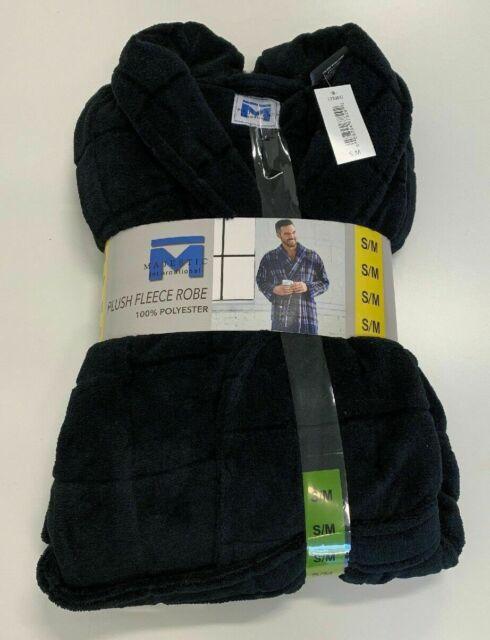Majestic International Mens Plush Fleece Robe Navy Blue Window S m for sale  online  3e4f58267