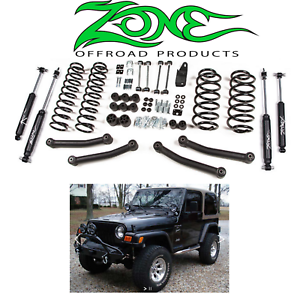 Jeep 4 Inch Lift >> Details About Zone Offroad 4 Inch Full Suspension Lift Kit 1997 2002 Jeep Wrangler Tj 4wd