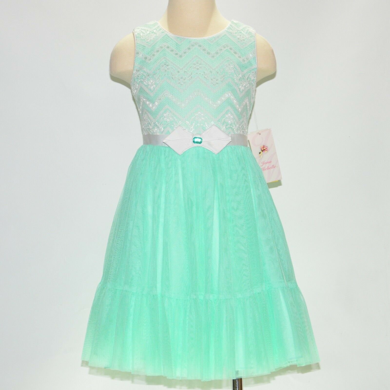 New Jona Michelle Girls Special Occasion Formal Party Holiday Dress Mint Chevron