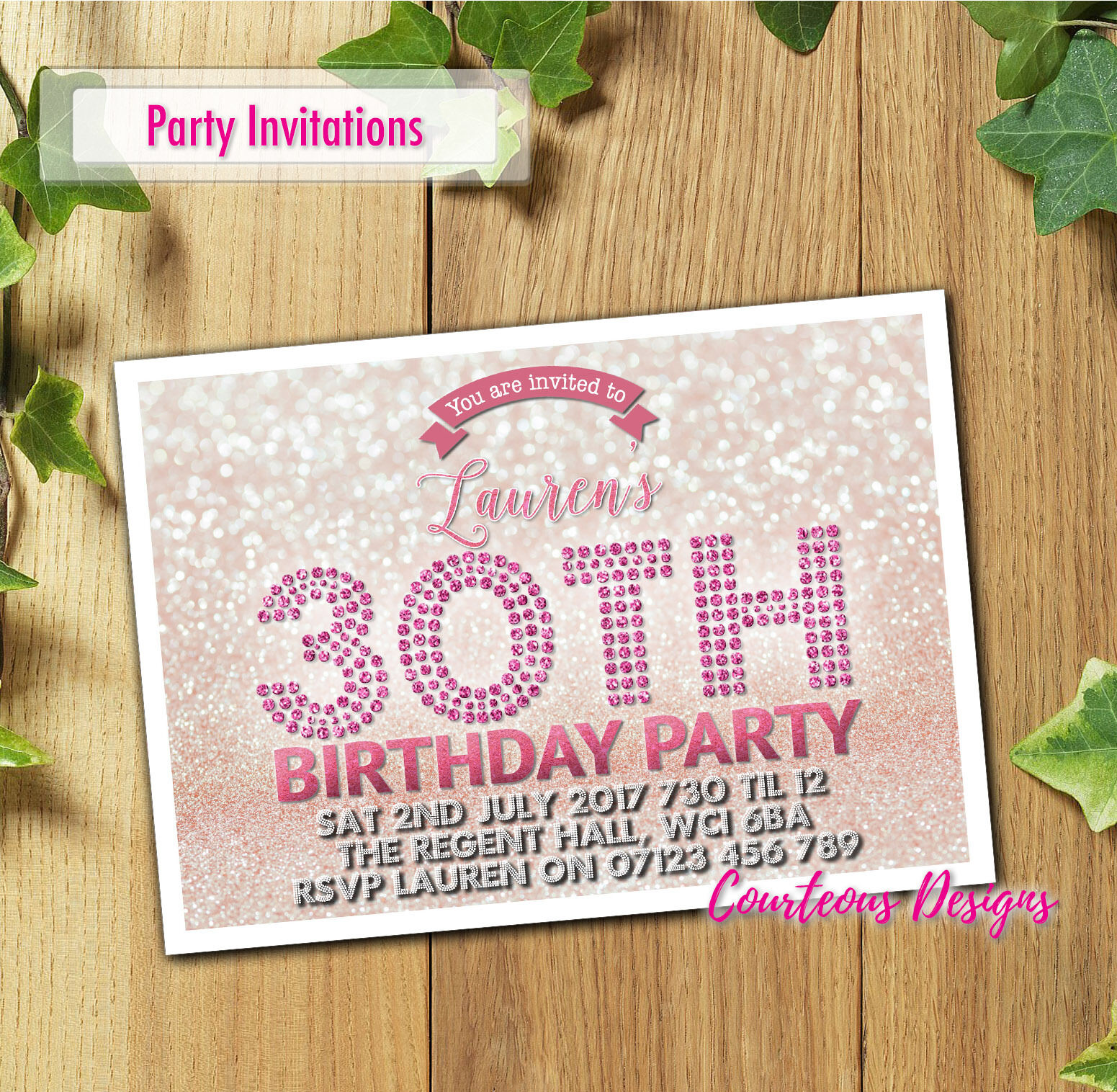 Any Age Birthday Invitations Party Invites Personalised 18th 21st 30th 40th 50th