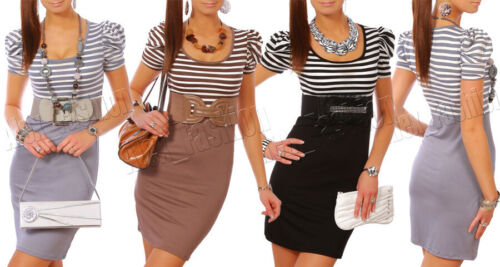 Womens Two Colour Striped Dress with Puff Sleeves Pencil Style Size 8-12 3415