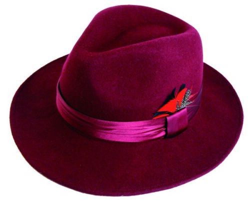 Men/'s 100/% Wool Hat Fedora Trilby Style Hat Burgundy Black Red by Fortino