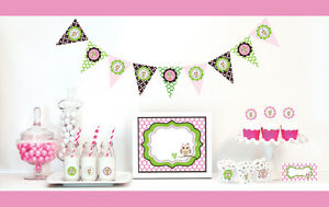 Image Is Loading Pink Owl Girl Baby Shower Party Decorations Starter
