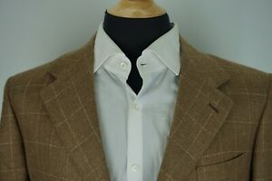Brioni-Lucca-Brown-Linen-Blend-Windowpane-Sport-Coat-Jacket-Sz-41R-Made-in-Italy