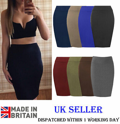 NAVY STRETCHY MIDI SMART PENCIL WIGGLE CAUSAL SKIRT  SIZE 8-20