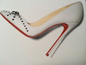 reputable site 3ffe6 d3dce Details about Christian Louboutin DOOR KNOCK 100 Leather Studded Heels  Pumps Shoes White $945